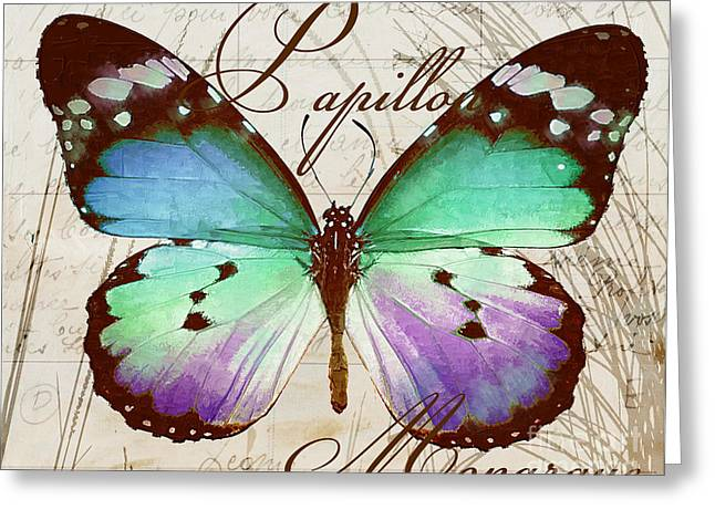Warm Tones Greeting Cards - Papillon Blue Greeting Card by Mindy Sommers