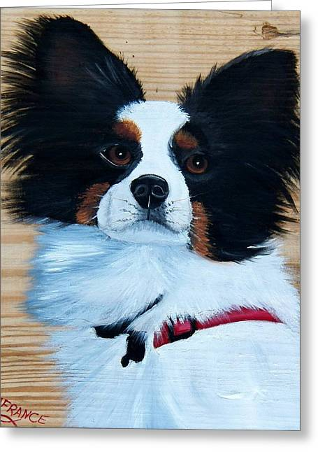Puppies Paintings Greeting Cards - Papillon Dog on Wood Greeting Card by Debbie LaFrance