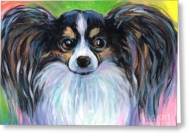 Impressionistic Dog Art Greeting Cards - Papillon dog painting Greeting Card by Svetlana Novikova