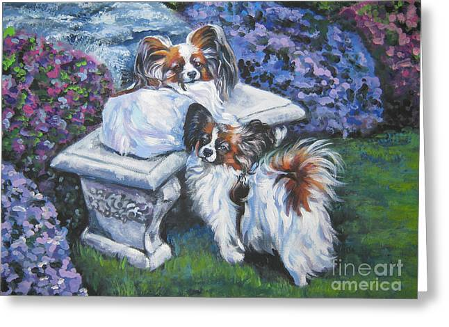 Papillon Dog Greeting Cards - Papillon in the Garden Greeting Card by Lee Ann Shepard