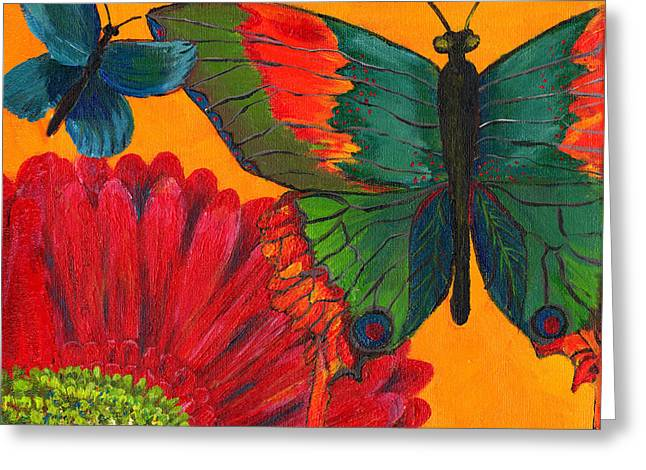 Butterflies Paintings Greeting Cards - Papillon Jaune Greeting Card by Debbie McCulley