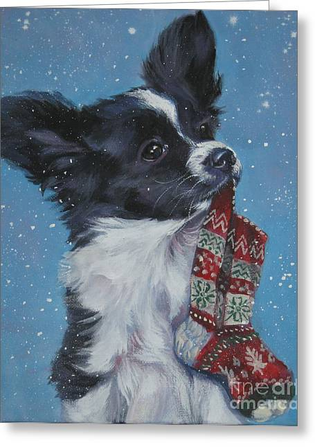 Papillon Greeting Cards - Papillon puppy with xmas stocking Greeting Card by LA Shepard