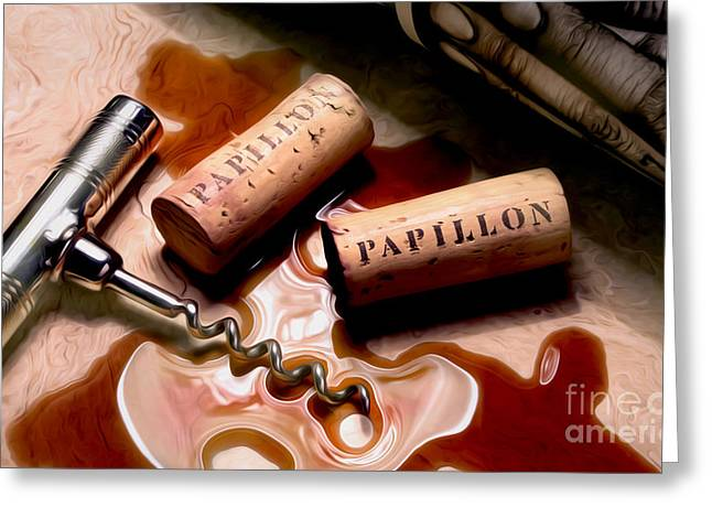 Papillon Uncorked Greeting Card by Jon Neidert