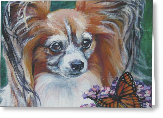 Papillon Dog Greeting Cards - Papillon with monarch Greeting Card by Lee Ann Shepard
