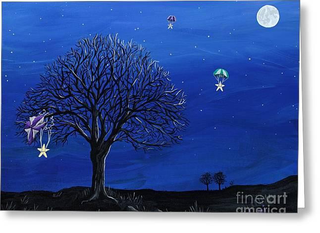 Night Scenes Greeting Cards - Para-Shooting Star Trio Greeting Card by Kerri Ertman