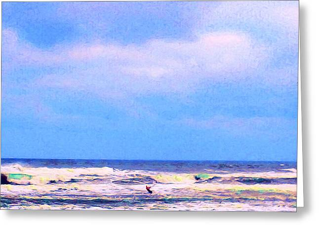 Kite Surfing Paintings Greeting Cards - Para-Surfer 3 Greeting Card by CHAZ Daugherty