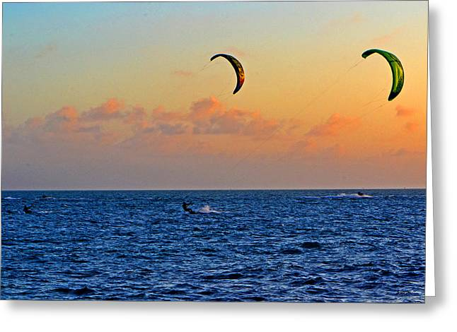 Para-surfing In Key West 003 Greeting Card by George Bostian