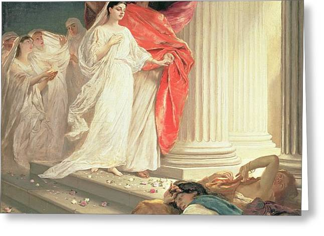 Parable of the Wise and Foolish Virgins Greeting Card by Baron Ernest Friedrich von Liphart