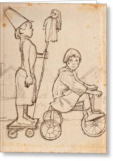 Tricycle Greeting Cards - Parade Greeting Card by H James Hoff