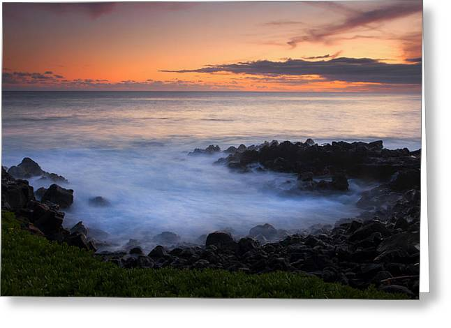 Lava Rock Greeting Cards - Paradise Cove Sunset Greeting Card by Mike  Dawson