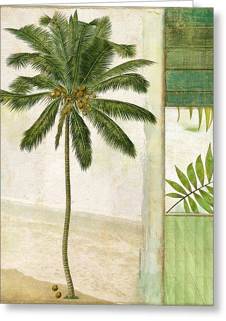 Coconut Trees Greeting Cards - Paradise II Palm Tree Greeting Card by Mindy Sommers