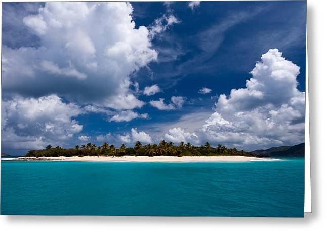 Blue Sailboat Greeting Cards - Paradise is Sandy Cay Greeting Card by Adam Romanowicz