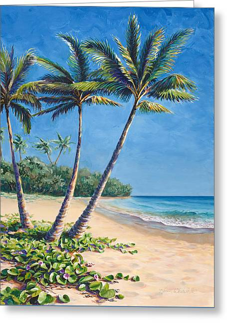 Tropical Paradise Landscape - Hawaii Beach And Palms Painting Greeting Card by Karen Whitworth