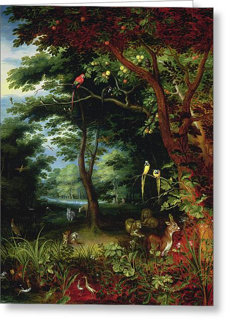 Paradise Scene With Adam And Eve Greeting Card by Jan the Younger Brueghel