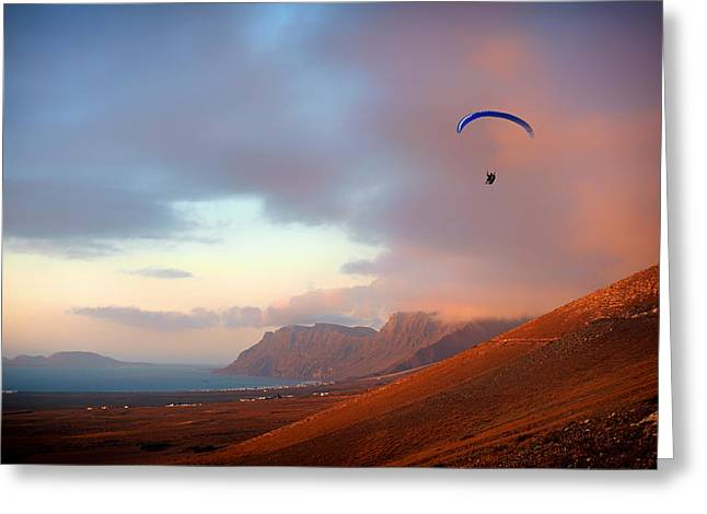 Lanzarote Greeting Cards - Paragliding In Paradise Greeting Card by Quique