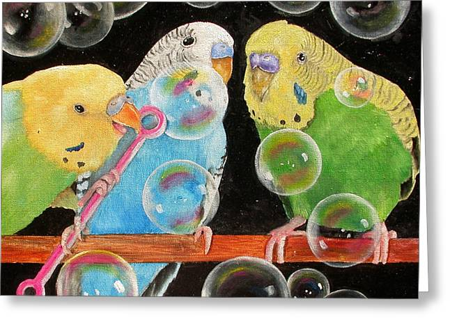 Mary Pastels Greeting Cards - Parakeet Bubbles Greeting Card by Mary Hughes