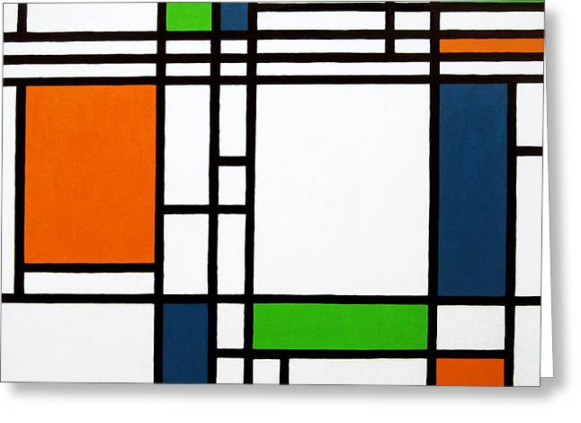 Art In Squares Greeting Cards - Parallel Lines Composition with Blue Green and Orange in Opposition Greeting Card by Oliver Johnston