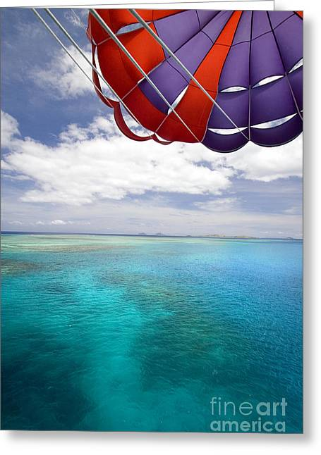 Parasail Greeting Cards - Parasail Over Fiji Greeting Card by Dave Fleetham - Printscapes