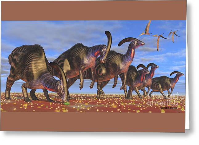 Parasaurolophus Herd Greeting Card by Corey Ford