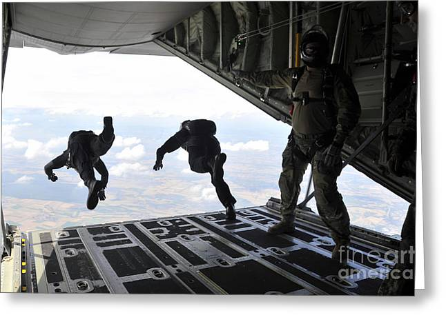 Paratroopers With The Spanish Military Greeting Card by Stocktrek Images