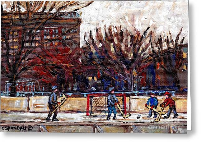 Shimmy Greeting Cards - Parc Lafontaine Hockey Rink Painting Montreal East Winter City Scene Quebec Art C Spandau Greeting Card by Carole Spandau