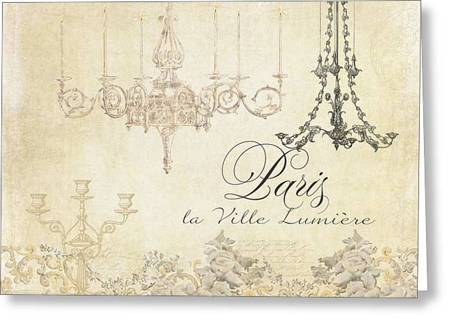 Romance Mixed Media Greeting Cards - Parchment Paris - City of Light Chandelier Candelabra Chalk Greeting Card by Audrey Jeanne Roberts