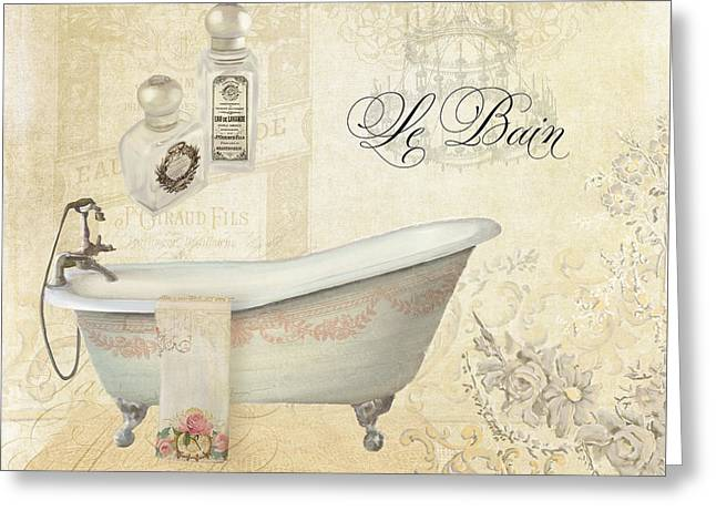Romance Mixed Media Greeting Cards - Parchment Paris - Le Bain or The Bath Chandelier and tub with Roses Greeting Card by Audrey Jeanne Roberts