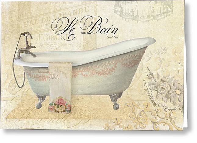 Advertising Mixed Media Greeting Cards - Parchment Paris - Le Bain Vintage Bathroom Greeting Card by Audrey Jeanne Roberts