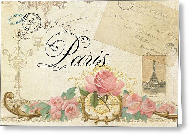 Parchment Paris - Timeless Romance Greeting Card by Audrey Jeanne Roberts