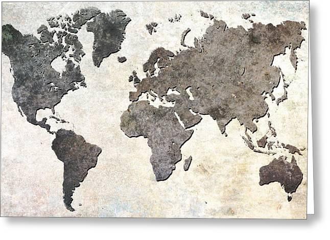 Parchment World Map Greeting Card by Douglas Pittman