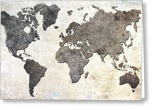 Earthy Greeting Cards - Parchment World Map Greeting Card by Douglas Pittman