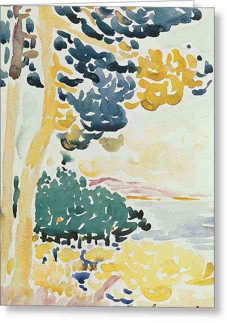 Green And Yellow Abstract Greeting Cards - Pardigon Greeting Card by Henri-Edmond Cross