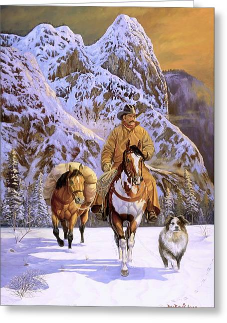 Pardners Greeting Card by Howard Dubois