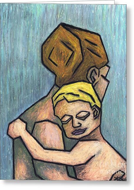 Cubism Prints Pastels Greeting Cards - Parental Bond Greeting Card by Kamil Swiatek