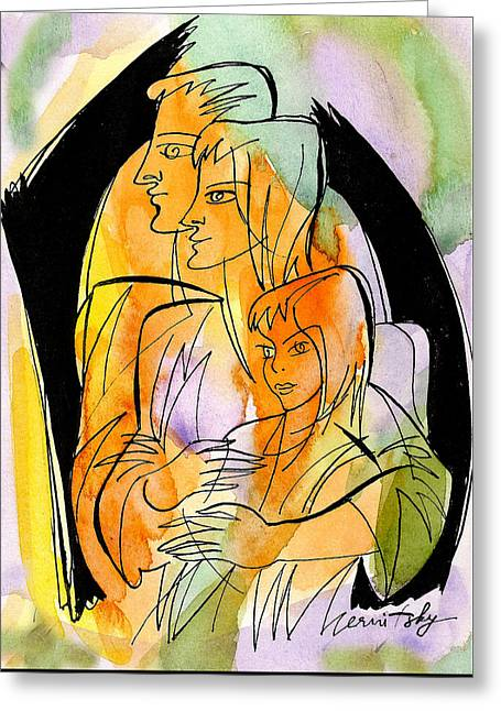 Parenting And Caring Greeting Card by Leon Zernitsky