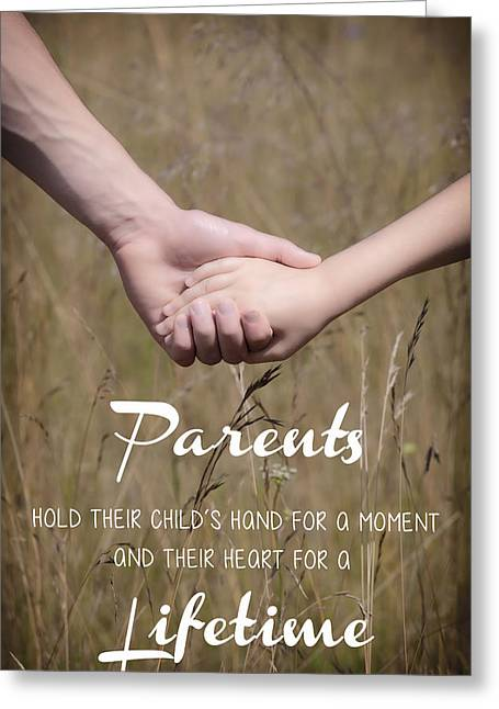 Hand In Hand Greeting Cards - Parents for a lifetime Greeting Card by Joana Kruse