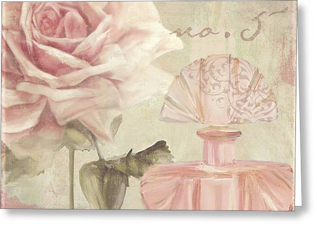 Perfume Bottle Greeting Cards - Parfum de Roses I Greeting Card by Mindy Sommers
