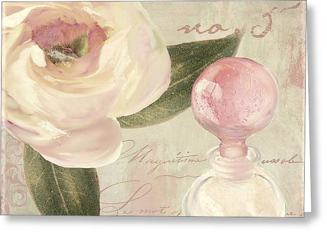 Perfume Bottle Greeting Cards - Parfum de Roses II Greeting Card by Mindy Sommers