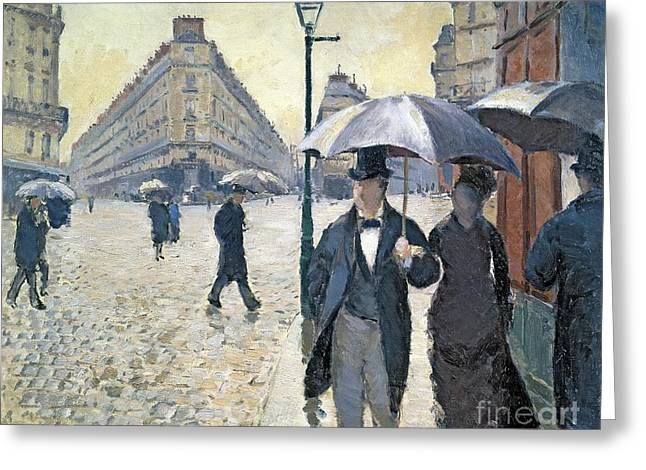 Umbrella Greeting Cards - Paris a Rainy Day Greeting Card by Gustave Caillebotte