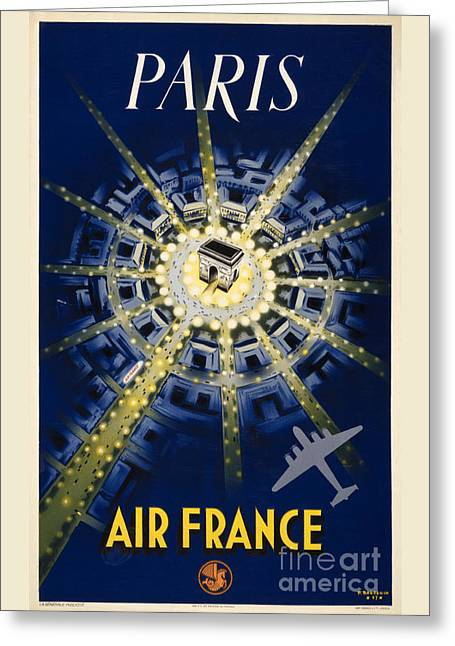Europe Mixed Media Greeting Cards - Paris Air France Vintage Travel Poster Restored Greeting Card by Carsten Reisinger