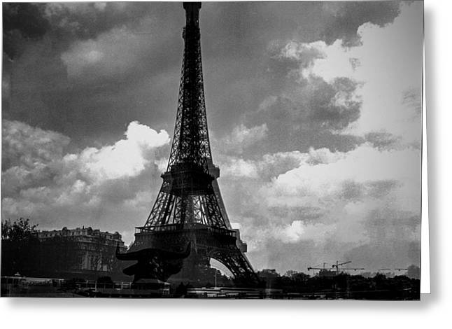 People Pyrography Greeting Cards - Paris Alma  and  the Eiffel tower. Greeting Card by Cyril Jayant