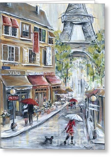 Poodle In Paris Greeting Card by Marilyn Dunlap
