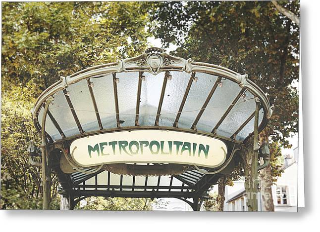 Greeting Cards - Paris Art Deco Abbesses Metro Greeting Card by Ivy Ho