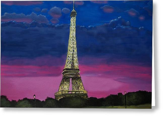 Paris Night Scenes With Lights Greeting Cards - Paris at Sunset Greeting Card by Aaron Berryman