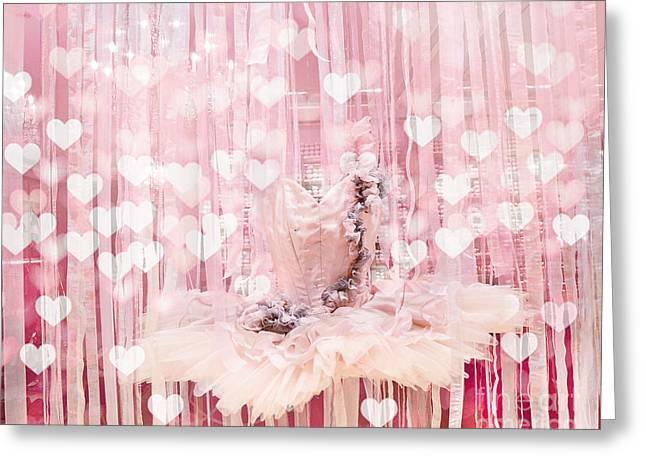 Paris Ballerina Tutu Dress Pink Hearts  - Paris Ballet Tutu Baby Girl Nursery Decor  Greeting Card by Kathy Fornal