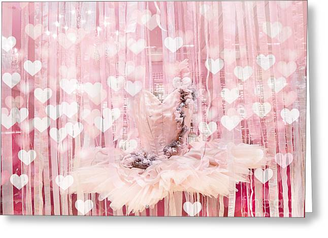 Pink Tutu Greeting Cards - Paris Ballerina Tutu Dress Pink Hearts  - Paris Ballet Tutu Baby Girl Nursery Decor  Greeting Card by Kathy Fornal