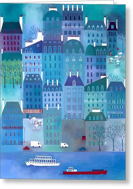 Townscape Digital Art Greeting Cards - Paris Blues Greeting Card by Nic Squirrell