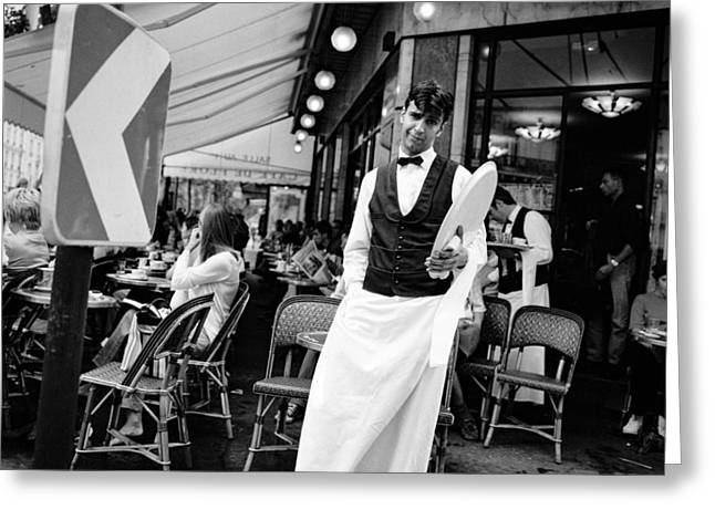 Cafe Pyrography Greeting Cards - Paris Cafe de Flore Waiter.  Greeting Card by Cyril Jayant