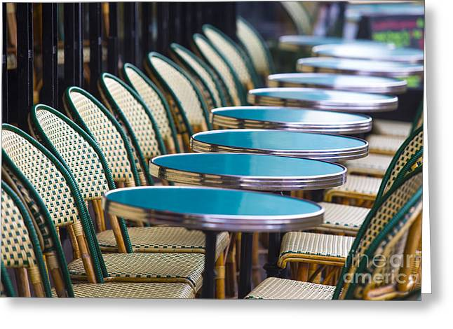 Empty Chairs Greeting Cards - Paris Cafe Greeting Card by Katya Horner