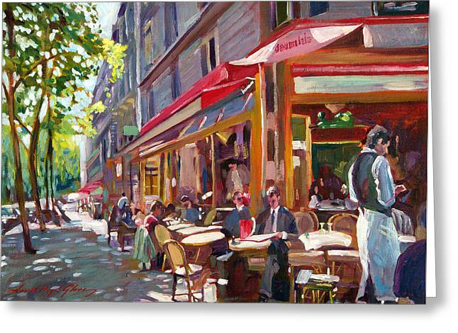 European Restaurant Greeting Cards - Paris Cafe Society Greeting Card by David Lloyd Glover